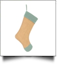 Blank Burlap Christmas Stocking - GREEN CANDY CANE