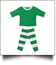 "Christmas Striped Pajamas for 18"" Dolls - GREEN/WHITE - CLOSEOUT"