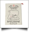 EasyStitch Christmas Gift Bag Blank With Invisible Zipper For Easy Embroidery - NAUGHTY OR NICE