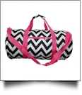 Chevron Print Duffel Bag Embroidery Blanks - HOT PINK TRIM - CLOSEOUT