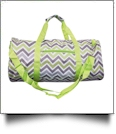 Chevron Print Duffel Bag Embroidery Blanks - GRAY/LIME TRIM - CLOSEOUT