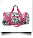 Zebra Print Duffel Bag Embroidery Blanks - HOT PINK TRIM - CLOSEOUT