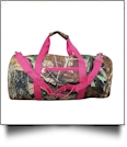 Natural Camo Print Duffel Bag Embroidery Blanks - HOT PINK TRIM