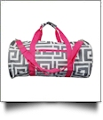 Greek Key Print Duffel Bag Embroidery Blanks - GRAY/HOT PINK TRIM - CLOSEOUT
