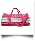 Aztec Print Duffel Bag Embroidery Blanks - HOT PINK TRIM - CLOSEOUT