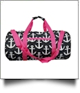 Anchor Print Duffel Bag Embroidery Blanks - BLACK/HOT PINK TRIM - CLOSEOUT