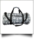 Anchor Print Duffel Bag Embroidery Blanks - GRAY/BLACK TRIM - CLOSEOUT