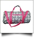 Anchor Print Duffel Bag Embroidery Blanks - GRAY/HOT PINK TRIM - CLOSEOUT