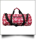 Anchor Print Duffel Bag Embroidery Blanks - HOT PINK/BLACK TRIM - CLOSEOUT