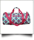Graphic Print Duffel Bag Embroidery Blanks - TURQUIOISE/HOT PINK TRIM - CLOSEOUT