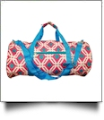 Graphic Print Duffel Bag Embroidery Blanks - HOT PINK/TURQUOISE TRIM - CLOSEOUT