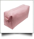 Small Cotton Waffle Cosmetic Bag Embroidery Blanks - LIGHT PINK