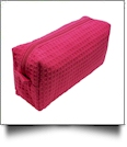 Small Cotton Waffle Cosmetic Bag Embroidery Blanks - FUCHSIA