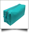 Small Cotton Waffle Cosmetic Bag Embroidery Blanks - CARIBEAN GREEN