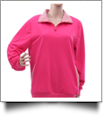 Preppy Gingham Quarter Zip - HOT PINK - CLOSEOUT
