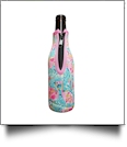The Floridian Series 12oz Long Neck Zipper Neoprene Bottle Koozie - FUN LOVING FLAMINGOS