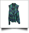 Flowy Open Front Super Soft Plaid  Vest - NAVY/GREEN - CLOSEOUT