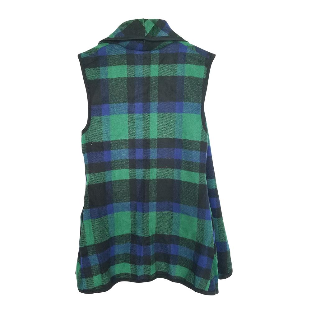 flowy open front super soft plaid vest navy green. Black Bedroom Furniture Sets. Home Design Ideas