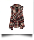 Flowy Open Front Super Soft Plaid  Vest - BROWN/ORANGE - CLOSEOUT