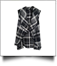 Flowy Open Front Super Soft Plaid  Vest - BLACK/WHITE - CLOSEOUT