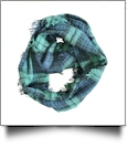 Tartan Plaid Blanket Infinity Scarf Embroidery Blanks - NAVY/GREEN