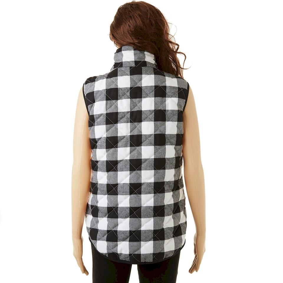 Buffalo Plaid Diamond Quilted Vest Black White Closeout