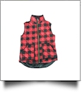 Buffalo Plaid Diamond Quilted Vest - BLACK/RED - SIZE L - IRREGULAR