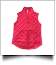 Diamond Quilted Puffy Vest - RED - CLOSEOUT