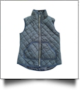 Diamond Quilted Puffy Vest - NAVY - CLOSEOUT