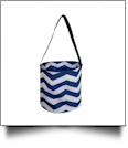 Monogrammable Easter Basket Bucket Tote - NAVY CHEVRON