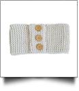 Three Button Blank Crochet Headband Head Wrap - IVORY - CLOSEOUT