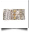 Three Button Blank Crochet Headband Head Wrap - TAN - CLOSEOUT