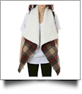 Plaid Vest with Super-Soft Sherpa Lining - CAMEL - CLOSEOUT
