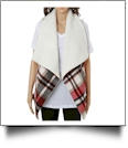Plaid Vest with Super-Soft Sherpa Lining - RED/IVORY - CLOSEOUT