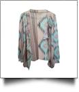 Flowy Open Front Super Soft Aztec Cardigan - AQUA - CLOSEOUT