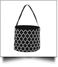 Monogrammable Easter Basket & Halloween Bucket Tote - BLACK QUATREFOIL