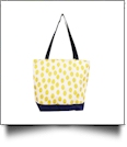 Polka Dot Ikat Print Tote Bag Embroidery Blanks - YELLOW/NAVY TRIM
