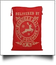 Red  Canvas Christmas Drawstring Gift Bag - Reindeer Mail - CLOSEOUT