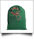 Green Canvas Christmas Drawstring Gift Bag - Express Delivery - CLOSEOUT