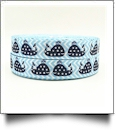 "Blue Chevron & Whale Grosgrain Ribbon - 7/8"" x 1 Yards"