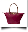 Medium Designer-Inspired Foldable Microfiber Travel Bag with Faux Leather Strap & Trim - CRANBERRY