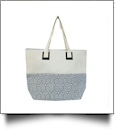 Large Geometric Print Tote Bag Embroidery Blanks - BLUE/NATURAL