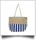 Oversized Cabana Stripe Tote Bag Embroidery Blanks - NAVY/WHITE