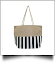 Oversized Cabana Stripe Tote Bag Embroidery Blanks - BLACK/WHITE