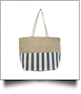 Oversized Cabana Stripe Tote Bag Embroidery Blanks - GRAY/WHITE