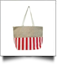 Oversized Cabana Stripe Tote Bag Embroidery Blanks - RED/WHITE