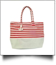 Jumbo Nautical Stripe Tote Bag Embroidery Blanks - RED/NATURAL