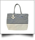 Jumbo Nautical Stripe Tote Bag Embroidery Blanks - NAVY/NATURAL