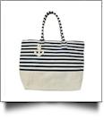 Jumbo Nautical Stripe Tote Bag Embroidery Blanks - NAVY/NATURAL