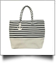 Jumbo Nautical Stripe Tote Bag Embroidery Blanks - BLACK/NATURAL